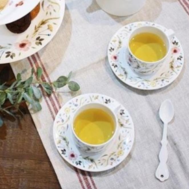 트위그뉴욕 스칸디나비안 플로랄 커피잔 2p + 커피받침 2p, 혼합 색상, 2개입