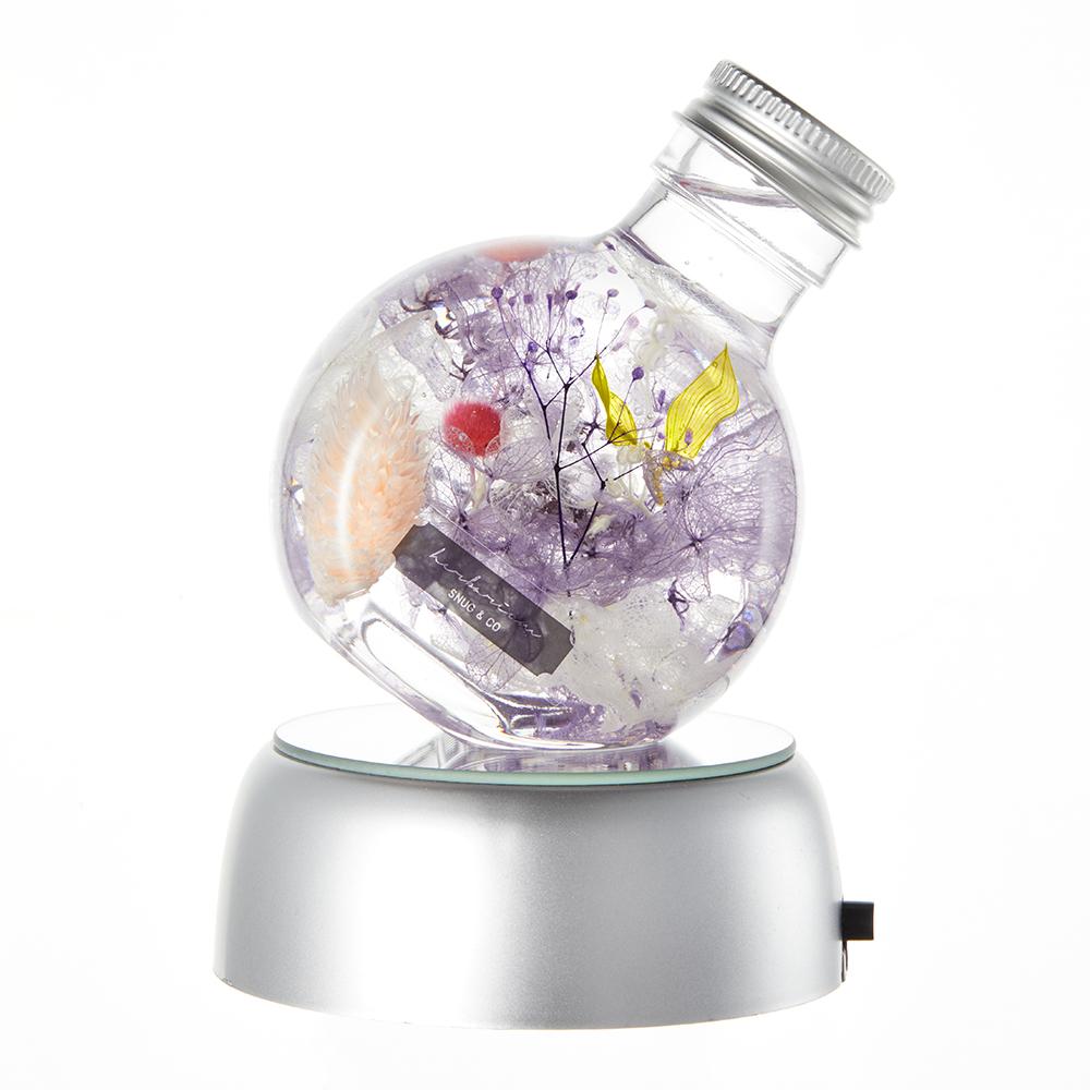 스너그앤코 하바리움 써클보틀 + LED조명코스터 무드등, 퍼플수국