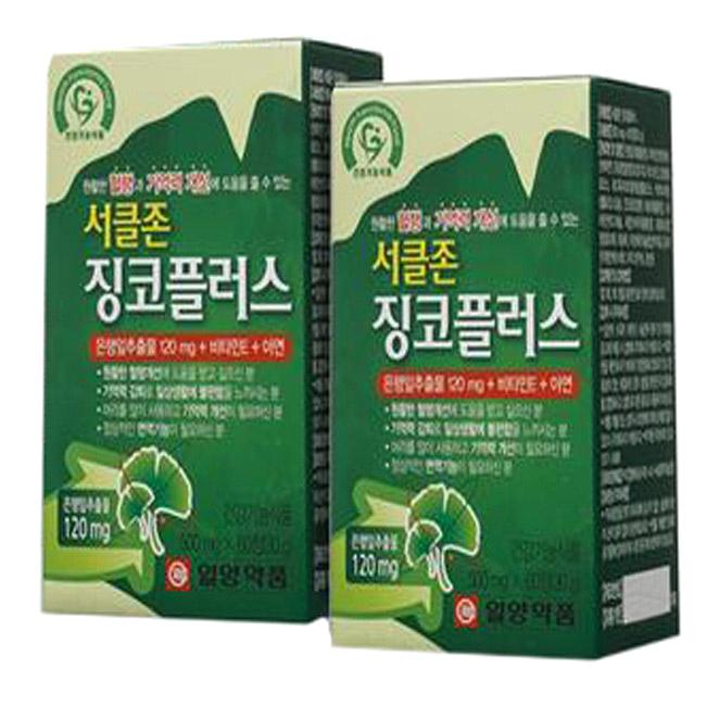 [징코플러스] 일양약품 서클존 징코플러스 60정 4개월분, 2개 - 랭킹1위 (30090원)