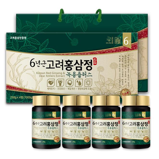 고려홍삼진흥원 6년근홍삼정 녹용플러스 + 쇼핑백, 250g, 4개입