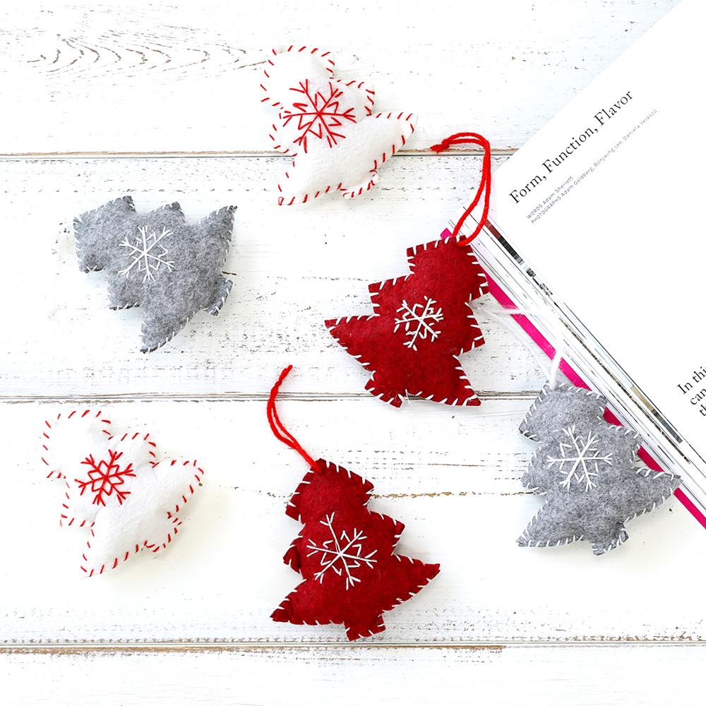 행복한마을 크리스마스 퀼트트리 오너먼트 6p 세트, 레드, 화이트, 그레이