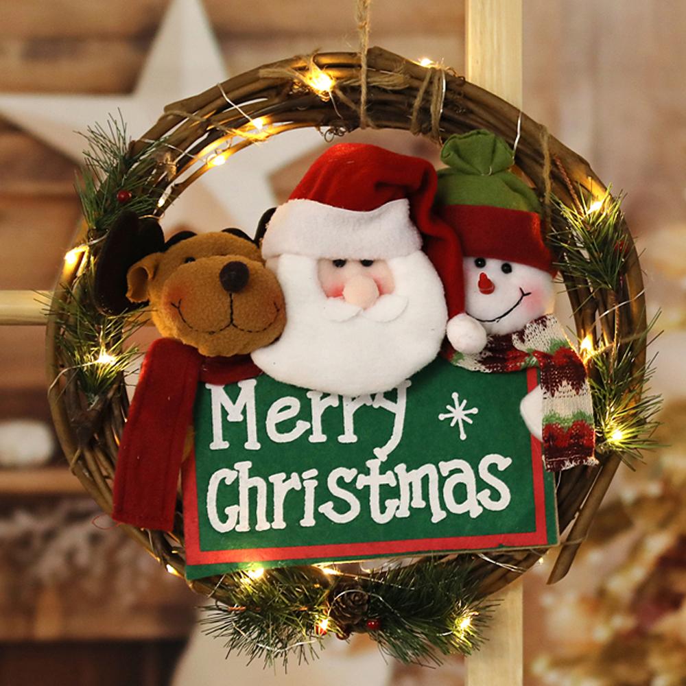행복한마을 펠리스라운드 크리스마스 리스 + LED등, 혼합 색상