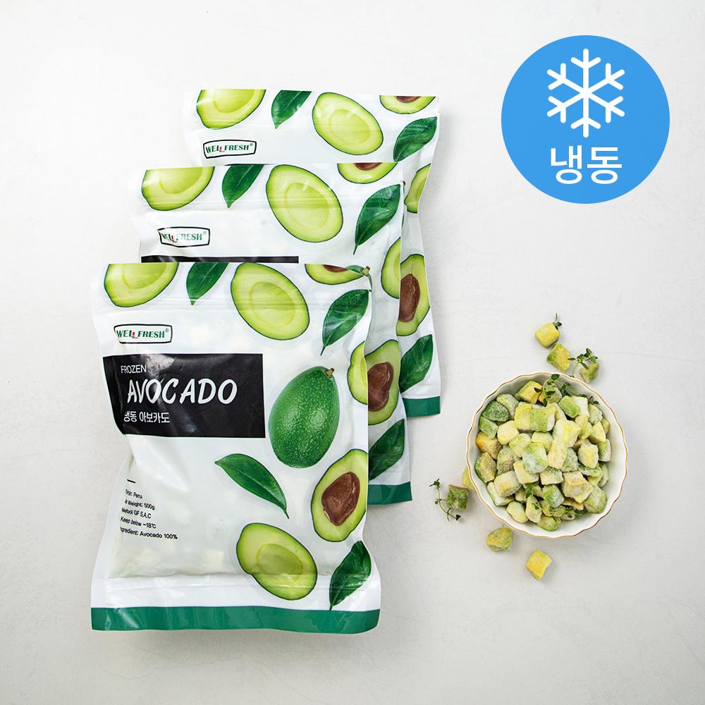 냉동 아보카도 (냉동), 500g, 3개