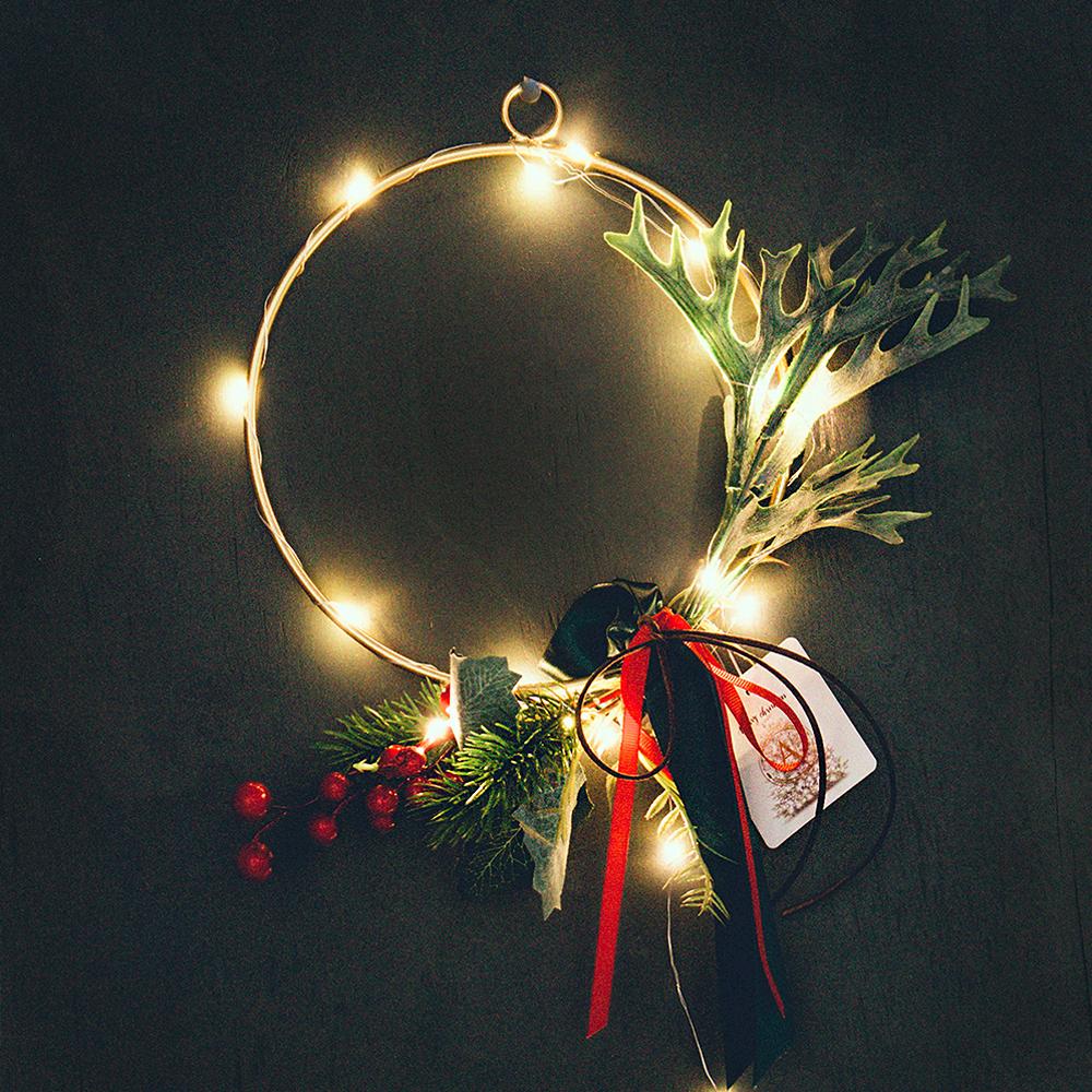 아스파시아 히브 골드링 크리스마스 리스 LED 전구세트, 혼합색상