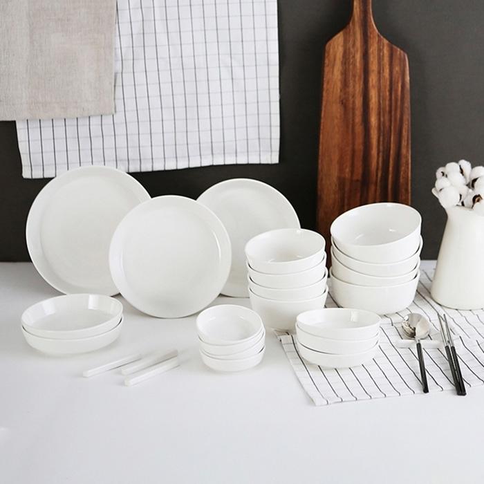 ERATO 크림모노 4인 그릇 홈세트 24p, 단일 색상, 8종