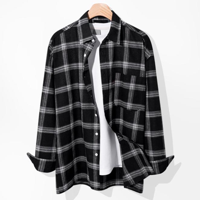 제이에이치스타일 남성용 루즈핏 체크 긴팔 셔츠