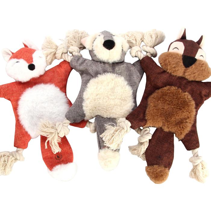딩동펫 반려동물 로프롱다리 인형 장난감 세트, 여우, 코알라, 다람쥐, 1세트