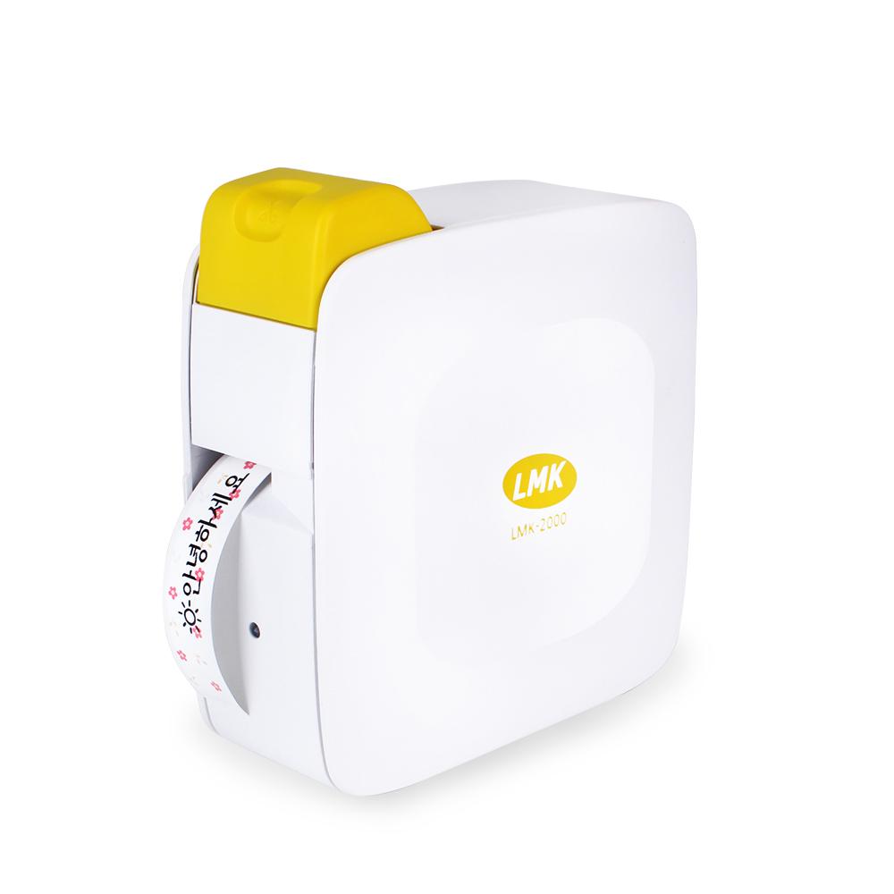 로드메일코리아 휴대용 무선 라벨프린터 + 라벨 테이프 + 전용 어댑터, LMK-2000YL, 1개