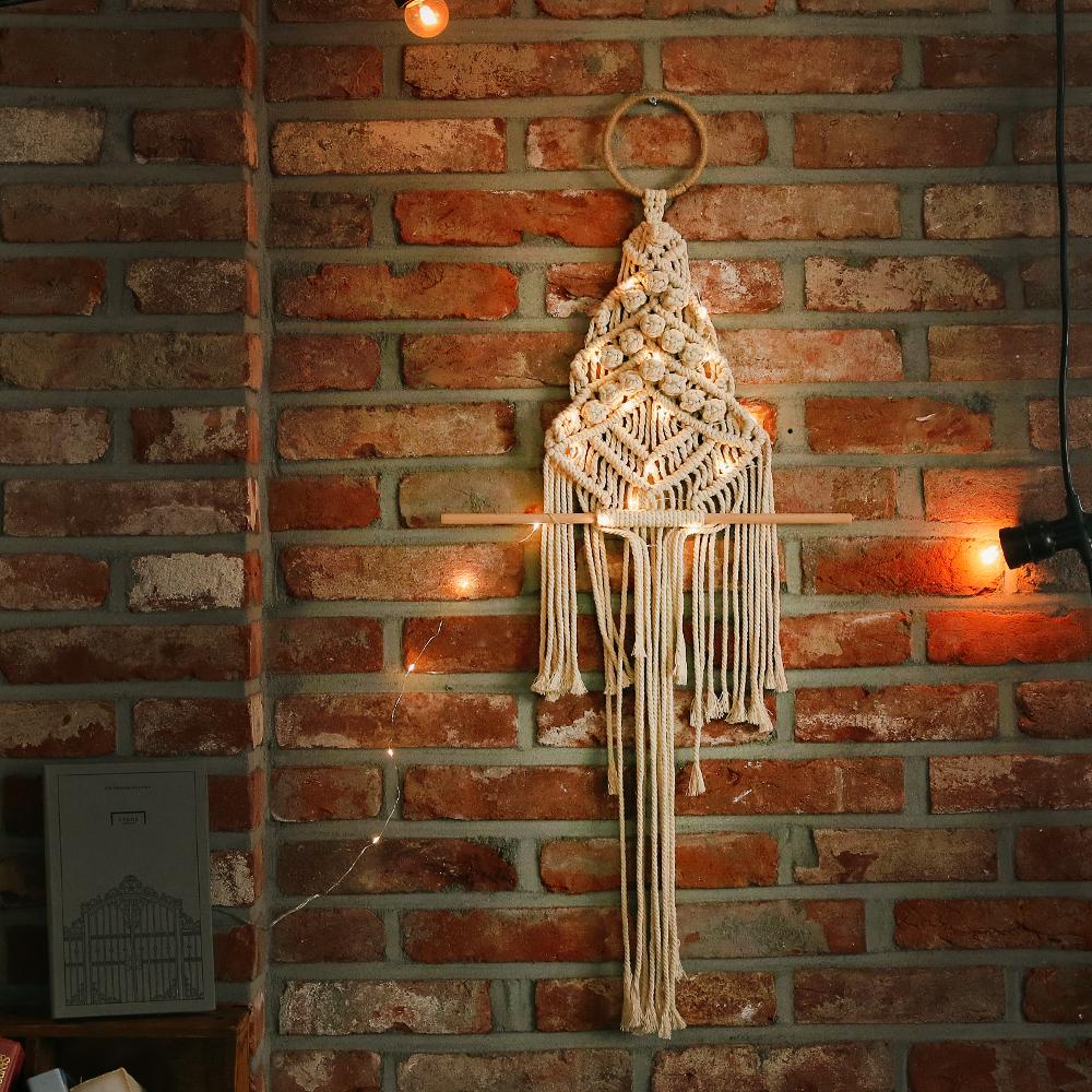 아스파시아 마크라메 트윙클 크리스마스 벽트리, 혼합 색상