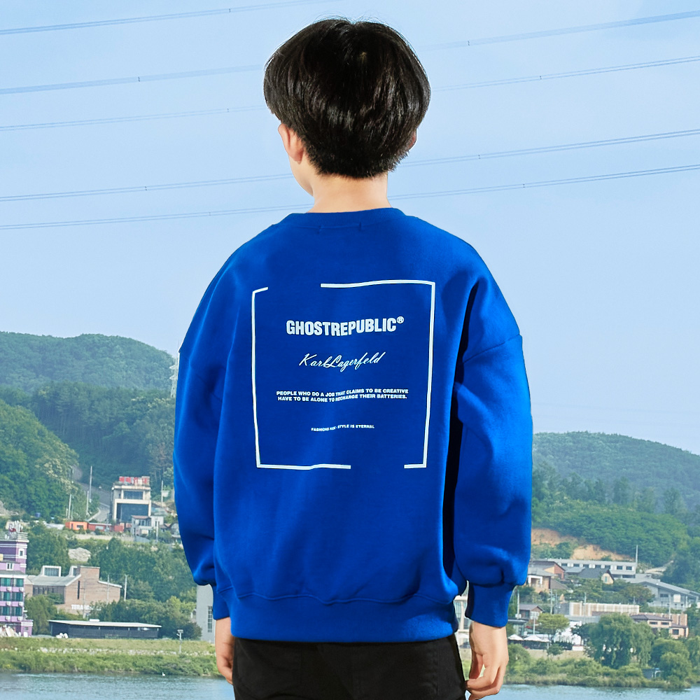 고스트리퍼블릭 아동용 심플 레터링 포인트 오버핏 주니어 맨투맨 티셔츠 JMT-J194
