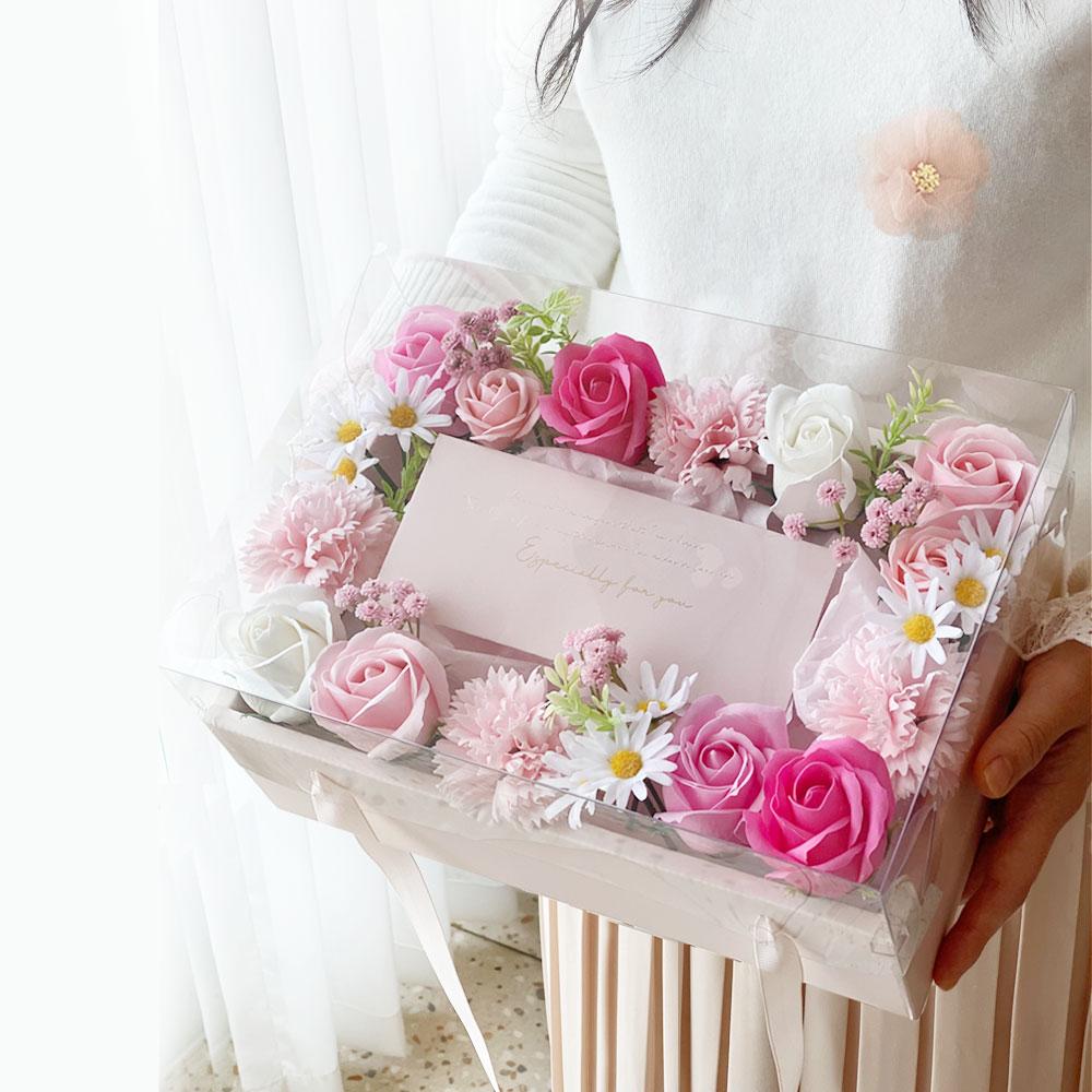 이플린 플라워 누드 용돈박스 + 카네이션 브로치 세트, 투명(용돈박스), 핑크(브로치)