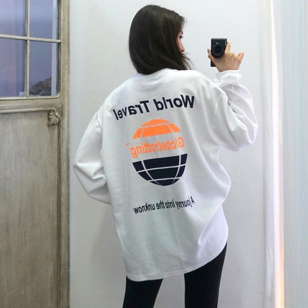 [루즈 티셔츠] 이힝 글로브 프린팅 루즈핏 긴팔 롱티셔츠 티셔츠 - 랭킹72위 (14800원)