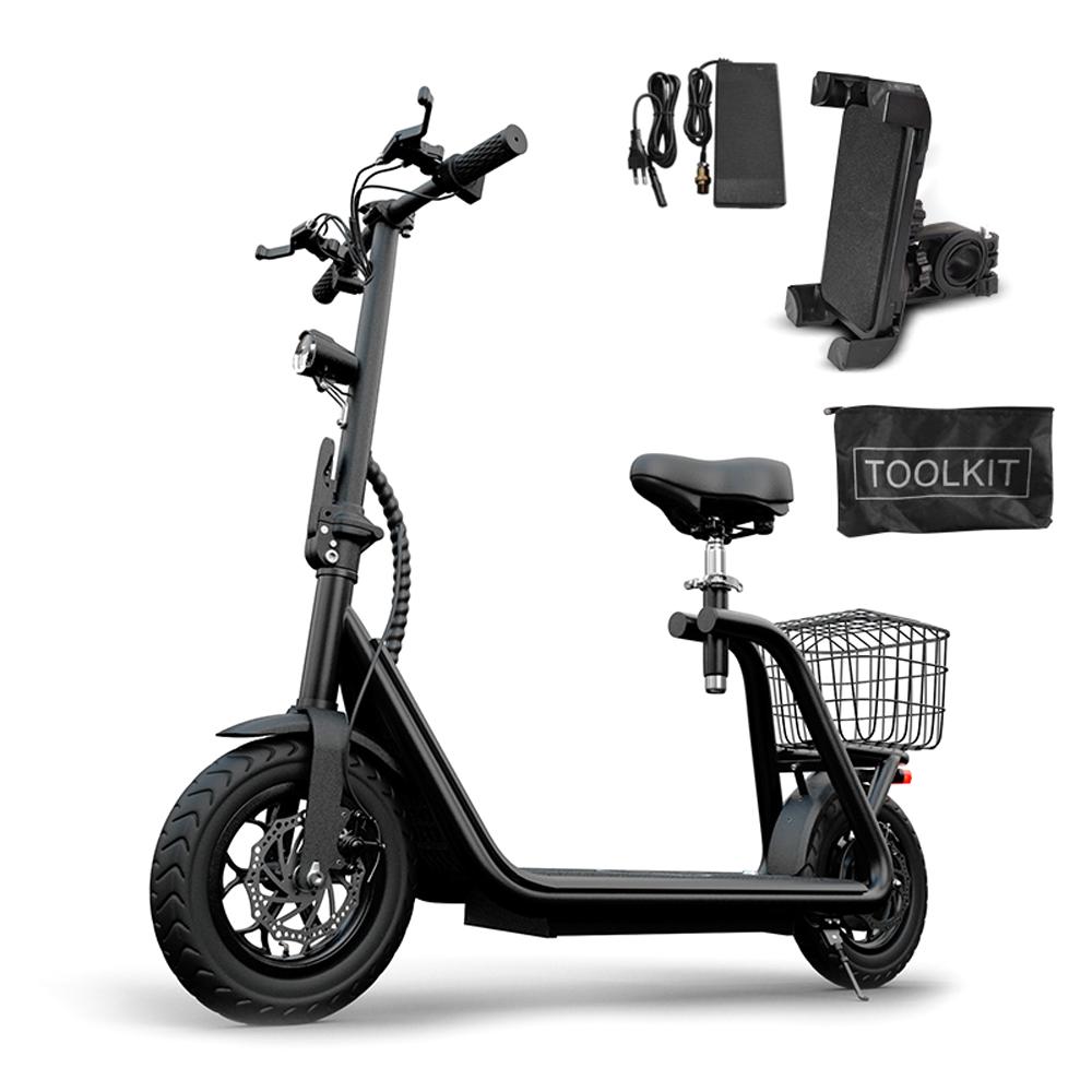 나노휠 전동스쿠터 5Ah + 전용안장 + 전용바구니 + 휴대폰거치대, MB-X3, 블랙