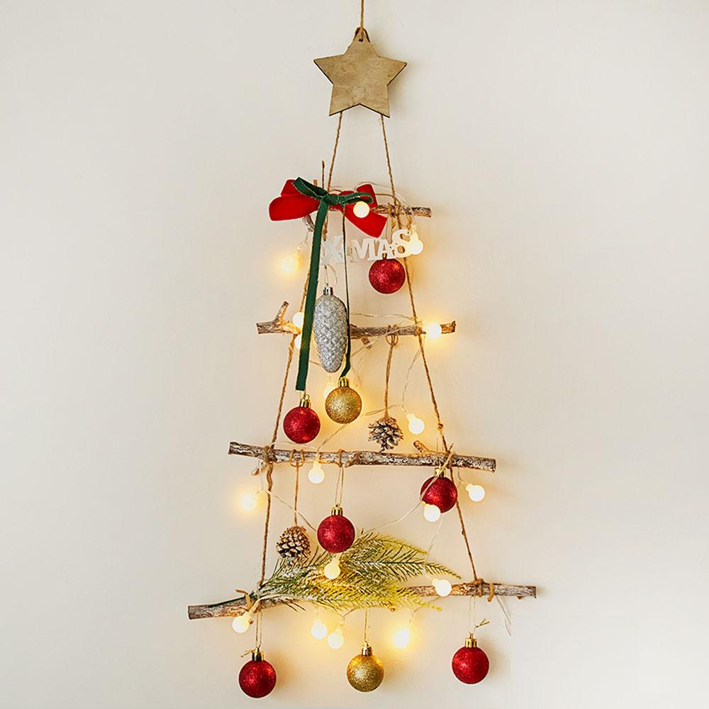 아스파시아 아스트르 크리스마스 4단 레드 벽트리 + 앵두전구 세트, 혼합 색상