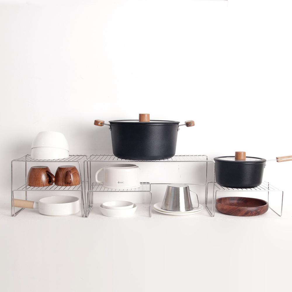 리빙해피 스텐 접시정리대 3p + 접시정리대 대 + 냄비정리대 세트, 실버