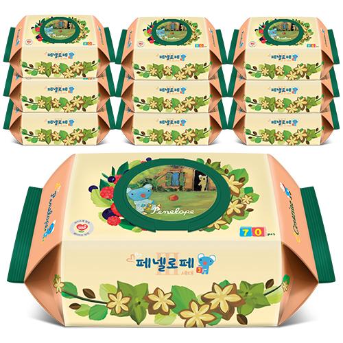 페넬로페 3세대 세자린 아기물티슈 캡형, 70매, 10팩