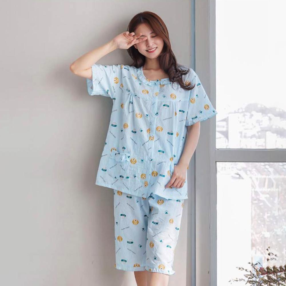훌라펫 여성용 마이펫맘마 아사면 반팔 잠옷세트