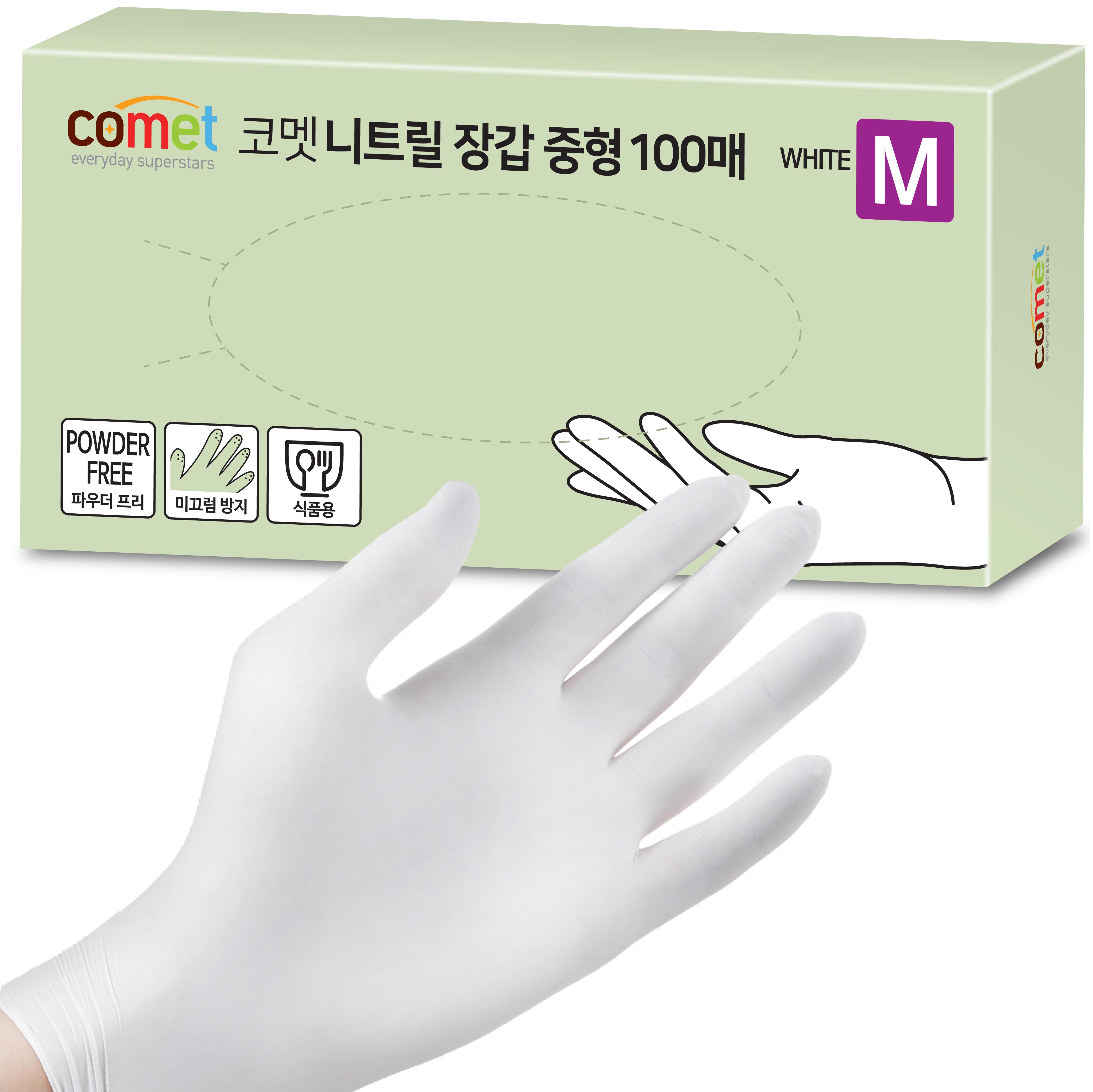 코멧 니트릴장갑 화이트 M, 중(M), 100매, 1개 (POP 5471858965)