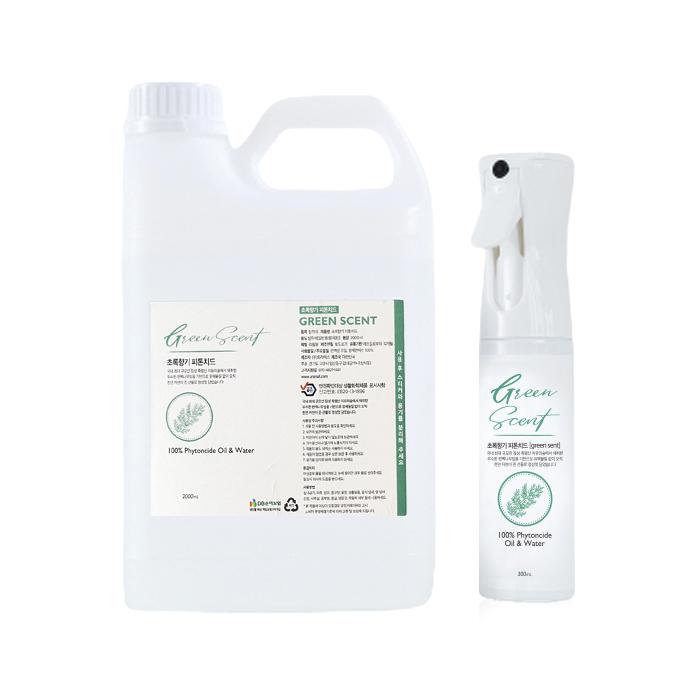 초록향기 피톤치드 스프레이 300ml + 리필 2L 세트, 1세트
