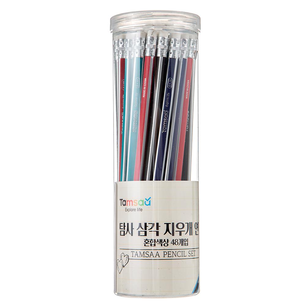 탐사 삼각 지우개 연필 48개입, 혼합색상