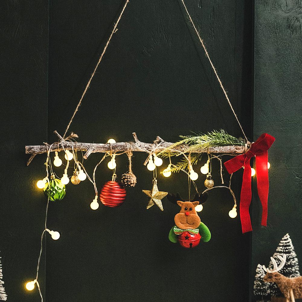 아스파시아 아르모니 크리스마스 1단 행잉가랜드 + 앵두전구 세트, 혼합 색상