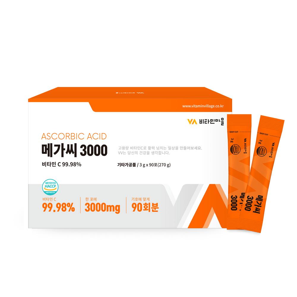 비타민마을 메가씨 3000 비타민C 분말 스틱, 3g, 90개입