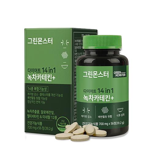 [헬스/건강식품] 그린몬스터 다이어트 14 in 1 녹차카테킨+, 56정, 1개 - 랭킹95위 (16050원)