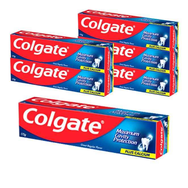 콜게이트 플루오라이드 치약 그레이트 레귤러 플레버, 175g, 6개