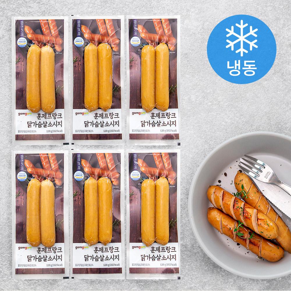 곰곰 훈제 프랑크 닭가슴살 소시지 (냉동), 120g, 6개
