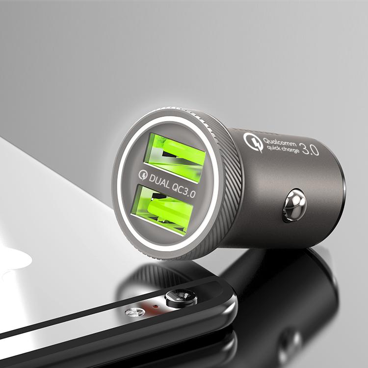 홈플래닛 퀄컴QC3.0 차량용 시거잭 고속충전기, 메탈실버, FP6601Q-1(2포트 미니 36W)