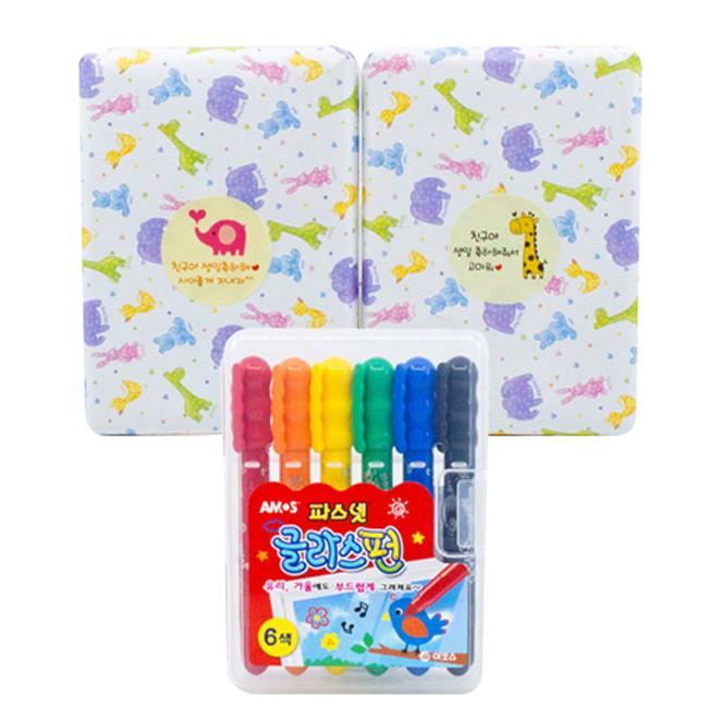 아모스 어린이집 생일선물용 파스넷 글라스펀 선물 포장, 혼합 색상, 3개