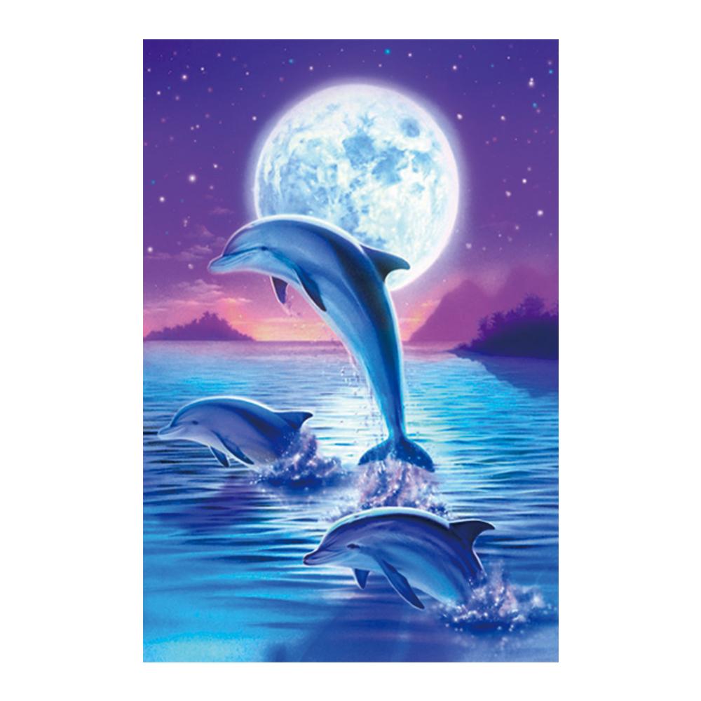 아이러브페인팅 DIY 어린이 보석십자수 비즈 큐빅 종이판 미니이젤 퍼니 10 x 15 cm, 달빛 돌고래, 1개