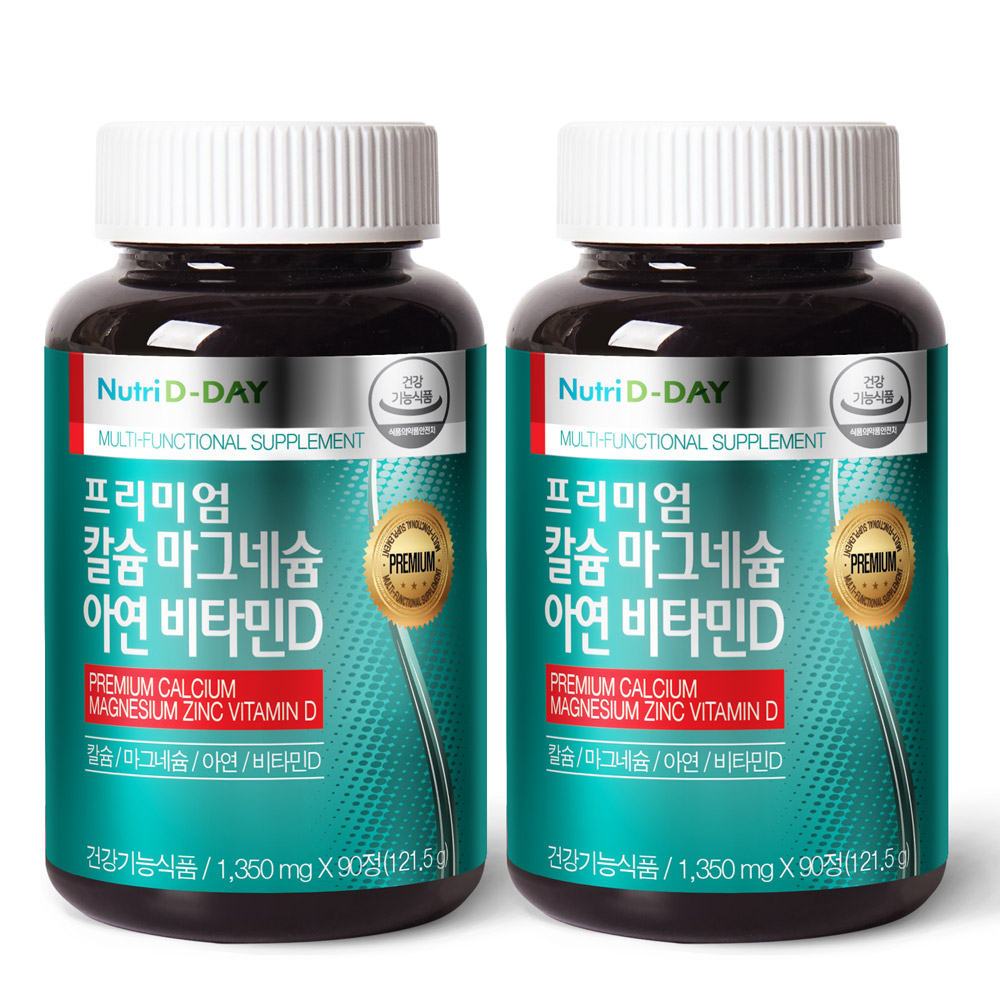 뉴트리디데이 프리미엄 칼슘 마그네슘 아연 비타민D, 90정, 2개