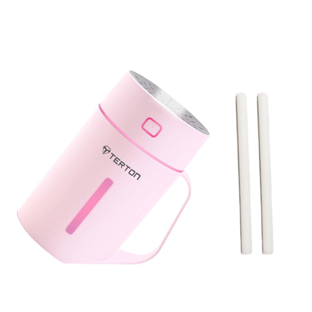 테르톤 컵 휴대용 LED 미니 가습기 PINK 420ml + 리필 필터 2p, SK-905