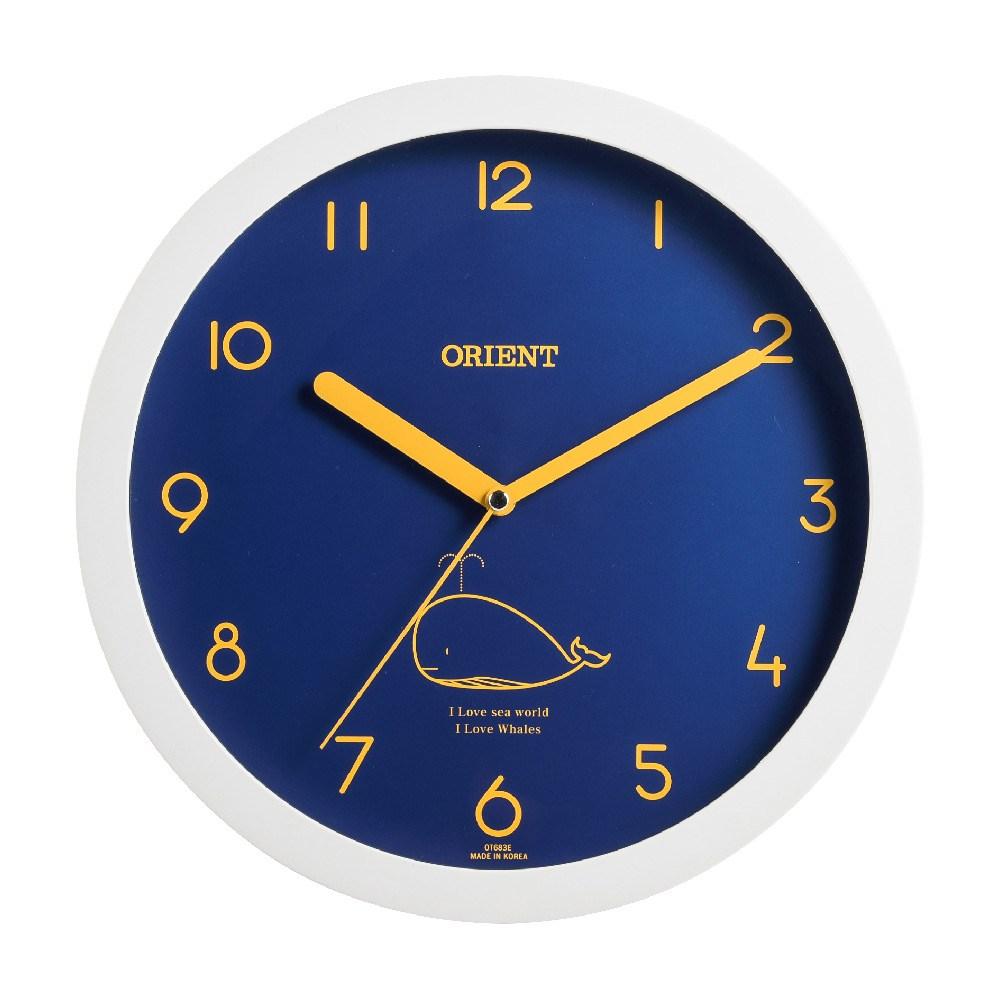 오리엔트 OT683E 저소음 딥블루 웨일 인테리어벽시계, 화이트 + 딥블루