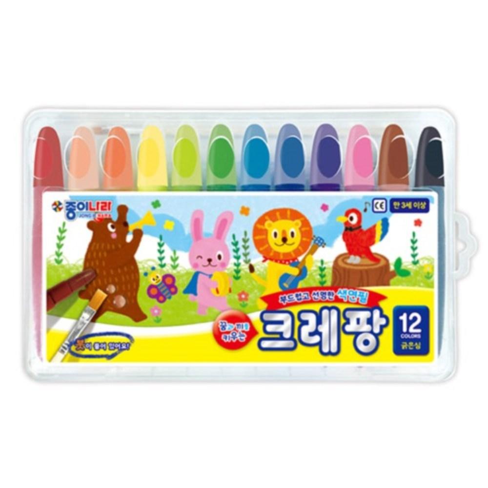 종이나라 크레팡 굵은심 색연필, 12색