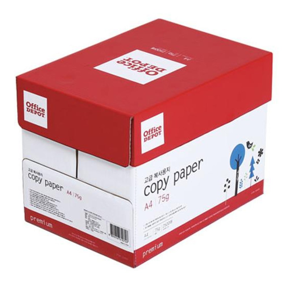 오피스디포 109619 복사용지A4 75g 500매 x 5권 박스, A4, 2500매