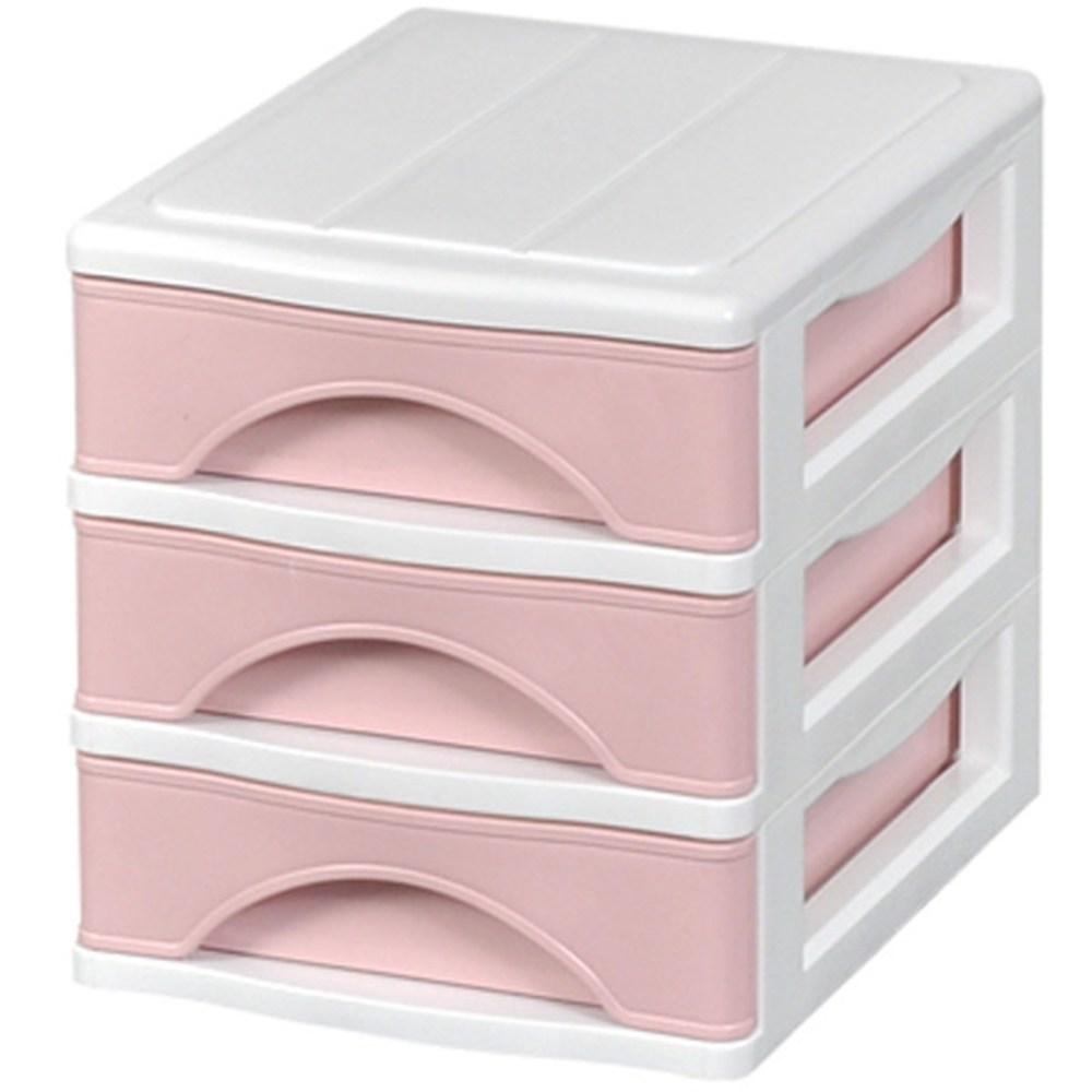 모아시스템즈 포키 미니 3단 서랍장, 핑크, 1개