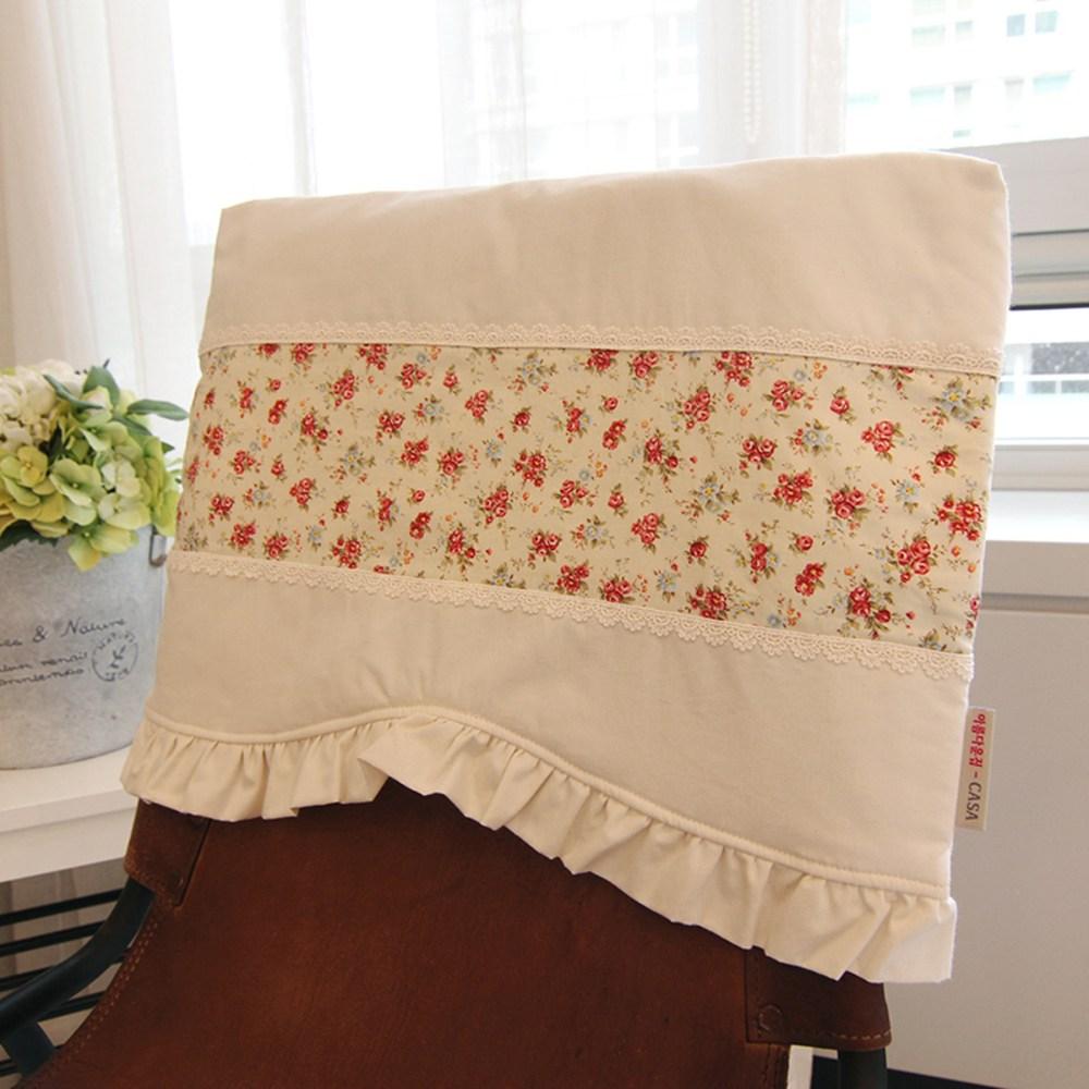 아름다운집까사 애슐리 식탁 의자 등커버, 내츄럴 광목 + 꽃프린트, 1개