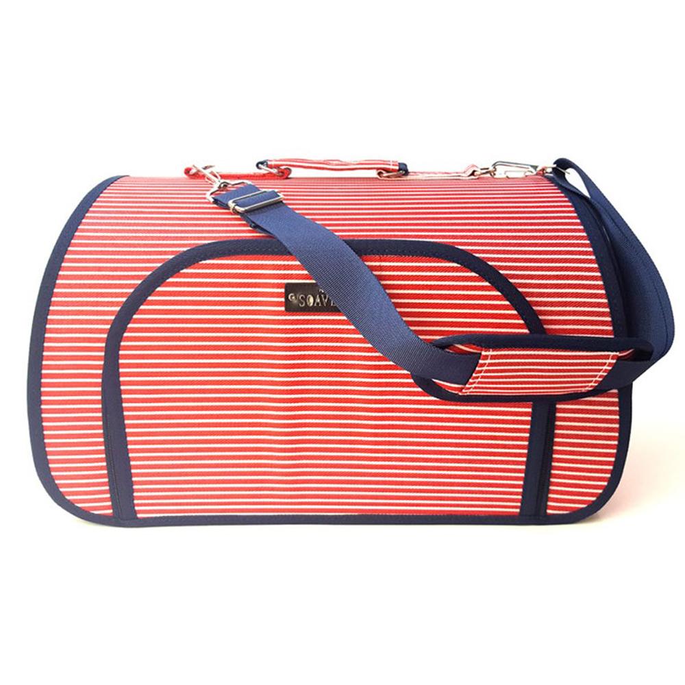 쏘아베 스트라이프 애견 캐리어 이동가방, 레드, 대형 49 x 28 x 28 cm