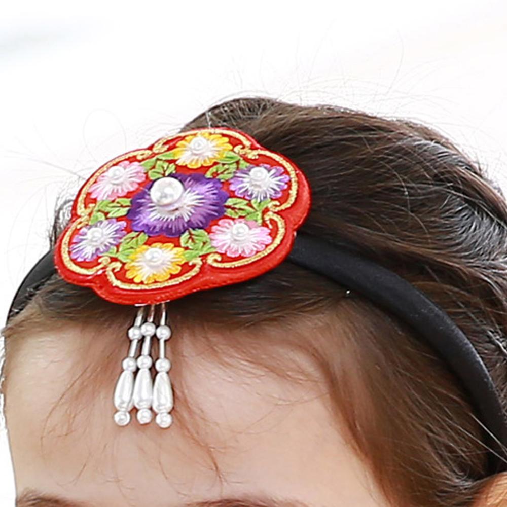 드레스하우스 여아용 꽃진주 한복머리띠