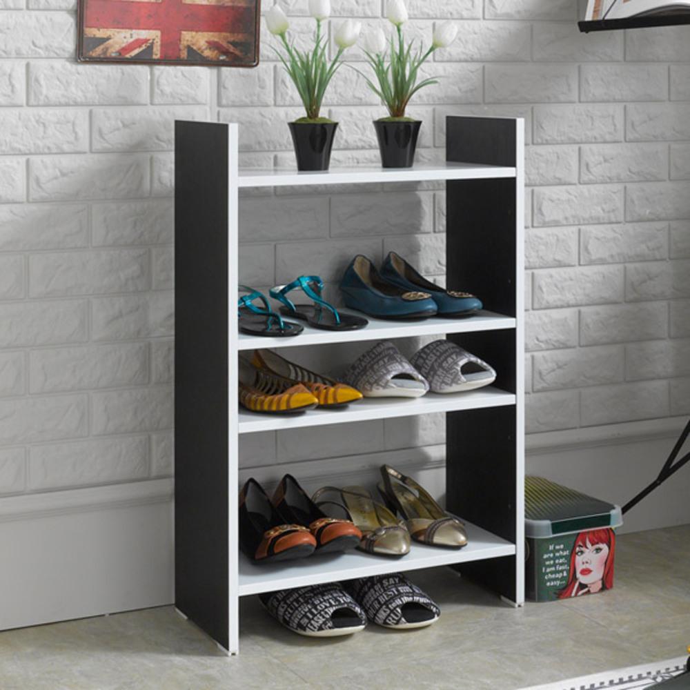 제우스 DIY 500 수납 신발장, 블랙 + 화이트