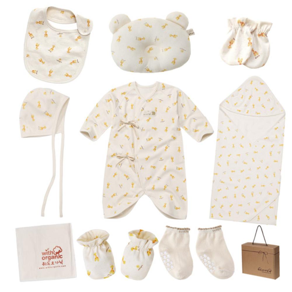 위드오가닉 신생아용 아기기린 출산선물 10종