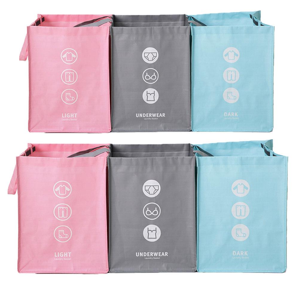 다용도분리수거함3p, 핑크/그레이/블루(혼합), 2개입
