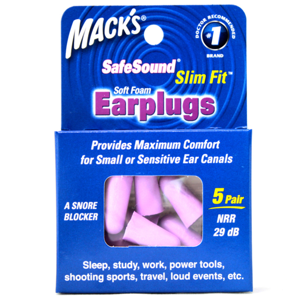 Macks 여성용 어린이용 수면귀마개 슬림핏 보라색 10p, 1개