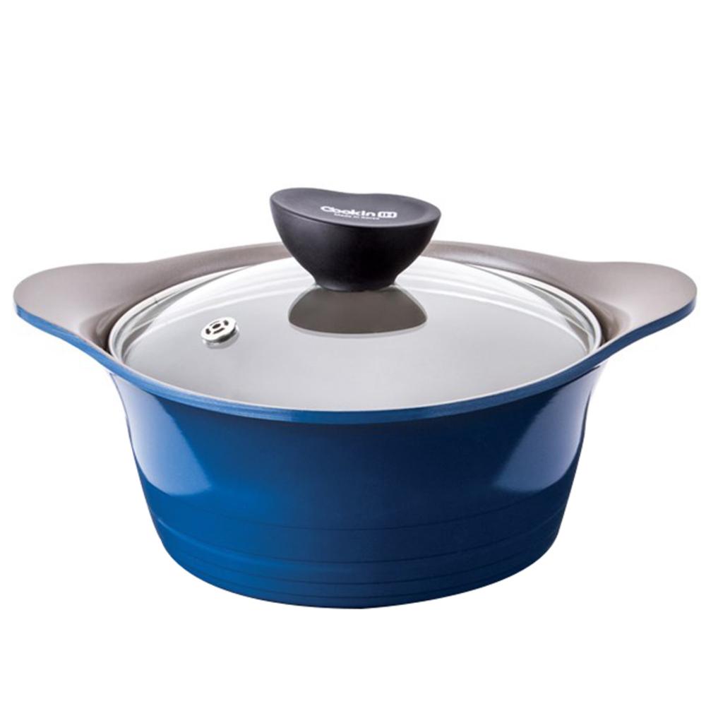 키친플라워 쿠킨 IH 인덕션 양수냄비, 20cm, 블루