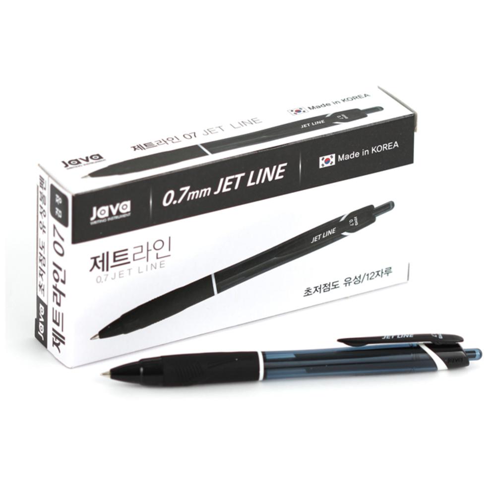 자바펜 0.7mm 제트라인 펜, 블랙, 12개입