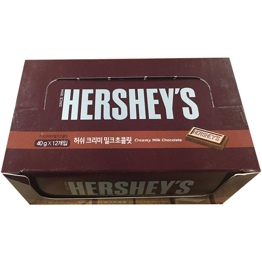 롯데제과 허쉬 크리미 밀크 초콜릿, 40g, 12개입