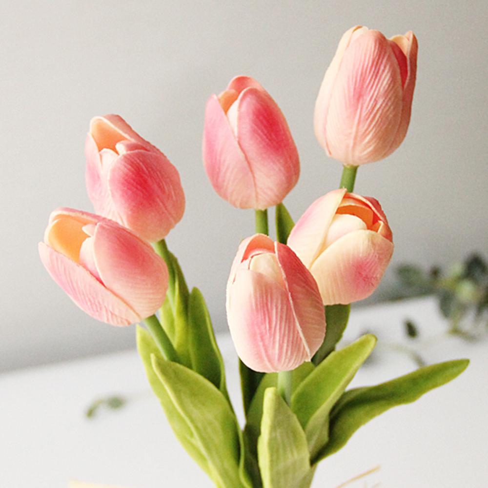 리버그린 튤립 조화 가지 6p, 핑크