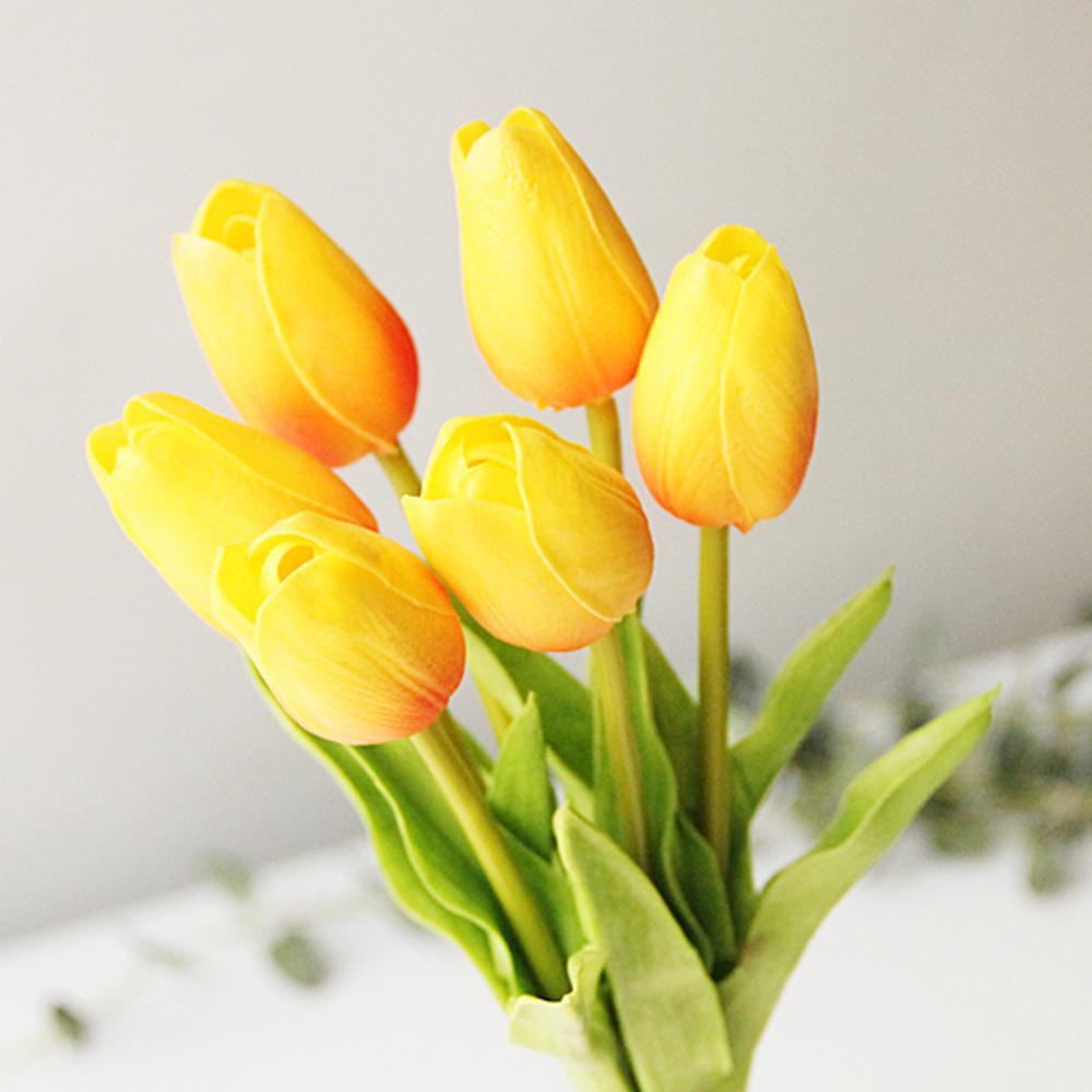 리버그린 튤립 조화 가지 6p, 옐로우오렌지